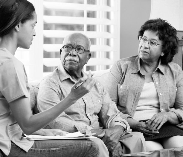 caregiver counseling the senior couple